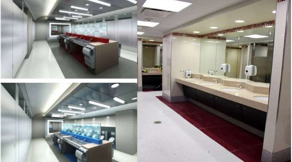 Modern, adequate-sized restrooms