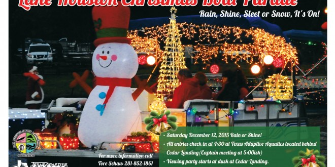 lake houston christmas boat parade rescheduled for dec 15 2015 at 725 pm - Christmas In Houston 2015