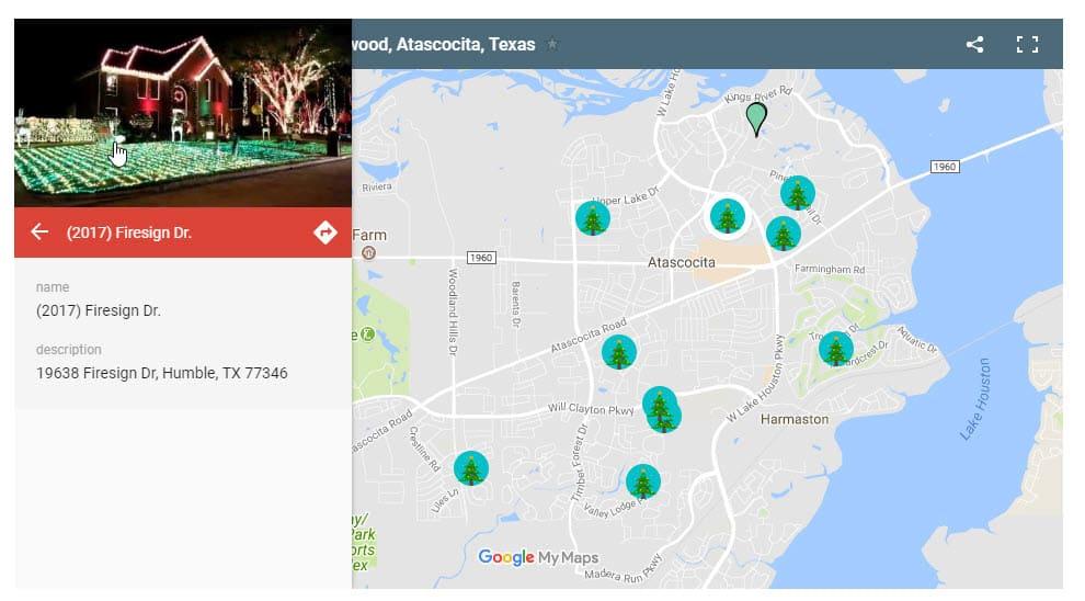 Map Of Christmas Lights In Humble Kingwood Atascocita Tx