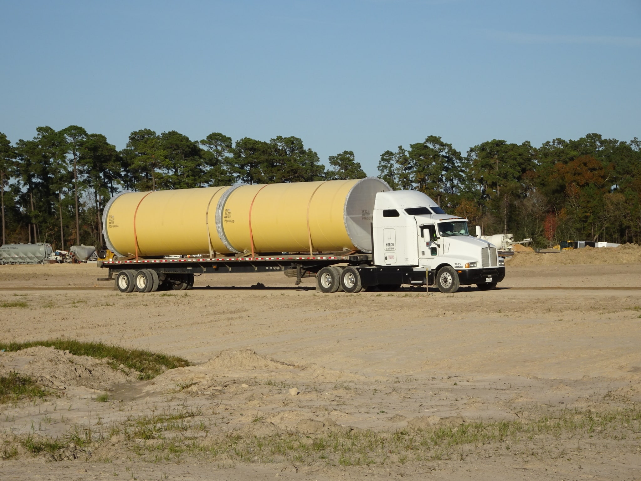 Truck hauling the 108 inch pipe