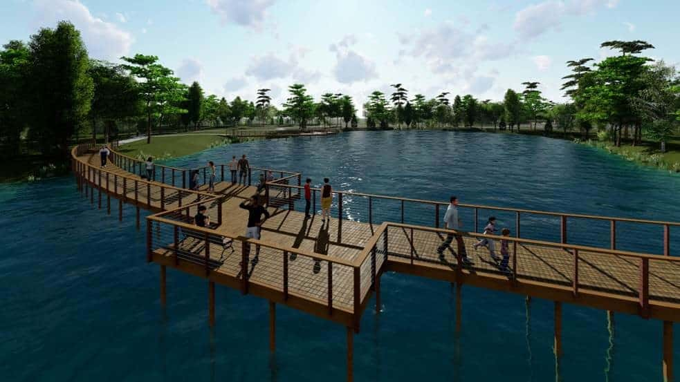 Rendering of the boardwalk traversing the natural pond